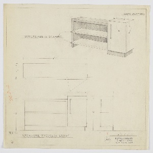 Design for shelving with cabinet. At upper right, perspective shows open shelving in Macassar ebony with two white sycamore shelves at right and white sycamore, rectilinear cabinet at left with vertical rectangular ebony pull. Also shown in plan, front, and side elevations. Inscribed with Deskey No. 7428.