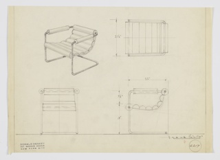 Design for cantilevered armchair. At upper left, shown in perspective: tubular metal frame in seemingly one piece angles up front to support front part of slung cylindrical upholstered cushions before angling rearward with upholstery-wrapped arms and finally supporting top of seat back at rear. Also shown in plan and elevations. Inscribed with Deskey No. 6217.