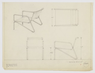 Design for armchair seen in perspective, plan, and elevations. Tubular metal frame of seemingly one piece with upright legs at front that angle downward to form rear supports that then angle upward to form arms; these angle backward and up to support slung textile seat and back. Inscribed with Deskey No. 6345.