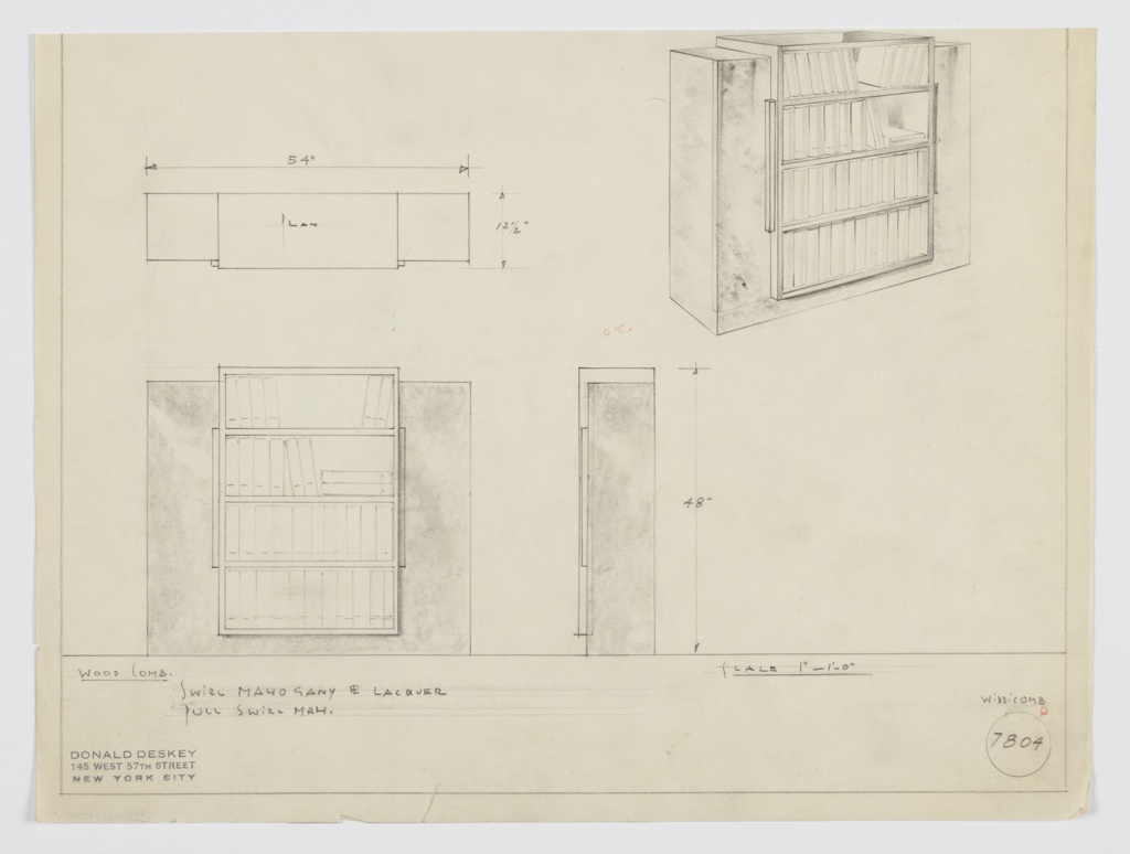 Drawing, Design for Bookcase with Cabinets