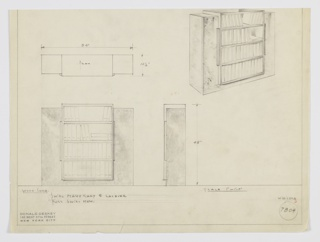 Design for a bookcase with cabinets. At upper right, perspective shows stepped rectilinear bookshelf: at center, open shelves in lacquer set into frame of swirl mahogany with tall thin cabinets on either side, and vertical pulls in same wood. Also shown in plan and front and side elevations. Inscribed with Deskey No. 7804.