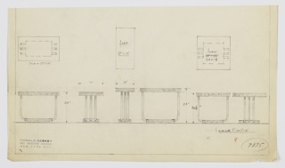 Three designs for side tables for the Men's Smoking Room or Nicotine Room at Radio City Music Hall. At left, rectangular tabletop supported by three U-shaped lengths of tubular metal set into smaller rectangular base in same material as top. At center, taller, shallower version of same concept. At right, square version of concept. All shown in plan, front and side elevations. Inscribed with Deskey No. 7875.