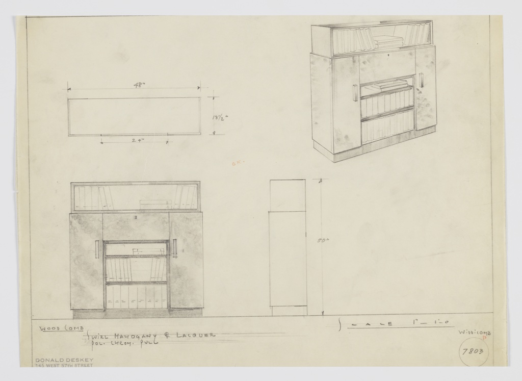 Drawing, Design for Bookshelf with Cabinet