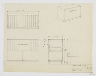 Design for a record storage cabinet. At lower left, object shown in front elevation: squat rectilinear object on slightly recessed base. Above, two-door cabinet with central horizontal pulls rests on additional storage compartment. At upper right, perspective shows similar object without lower compartments. Lower left object also seen in plan and side elevation; interior vertical dividers for record organization. Inscribed with Deskey No. 8435.