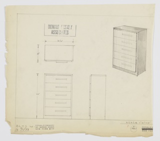 Design for chest of drawers. At upper right, perspective shows rectilinear object with base, sides, and top in dark material and drawer fronts in lighter one. Five drawers set slightly out from main volume and are accessed by asymmetrically-placed horizontal pulls. Also shown in plan and front and side elevations. Inscribed with Deskey No. 7447 and BL-S-W.