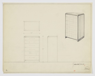 Design for chest of drawers. At upper right, perspective shows rectilinear object with curved corners. Six drawers of diminishing depth supported between two sides in same material with darker trim. Slightly recessed top surface. Also shown in plan and front and side elevations. Inscribed with Deskey No. 7964.