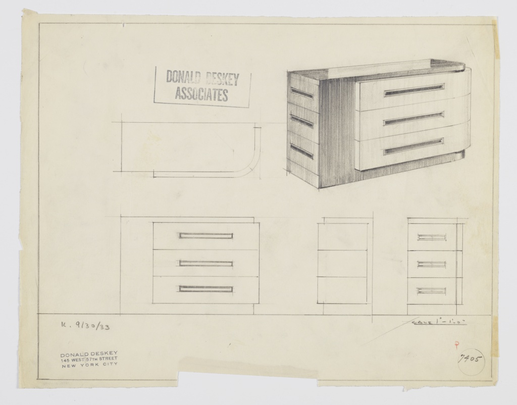 -1798Design for chest of drawers. At upper right, object shown in perspective: rectangular volume with curved front-right corner. Base, left side and top in dark material; left side features triple stack of drawers with horizontal pulls set into plane. At right, another triple stack of drawers with horizontal, in-set pulls in lighter material; these feature curve at right which follows plan of overall object. Also shown in plan, front, and two side elevations. Inscribed with Deskey No. 7405.