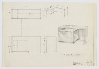 Design for convertible, L-shaped desk. At center right, perspective shows desk in closed position, while perspective at upper center shows it open. Writing desk consists of length of planar material that extends downward on either side forming supports; leg space enclosed by back panel. In open position, shorter rectilinear object with planar pedestal at left and two-stack of open shelving at right pivots out and is shown with typewriter on top surface. When closed, these nestle into leg space of writing surface. Also shown in plan, front and side elevations. Inscribed with Deskey No. 8342.