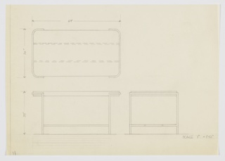 Design for dining table shown in plan, front and side elevations. Oblong top with rounded corners set into frame of rectangular metal tubing, which wraps short sides before angling downward to floor as legs; pair of stretchers in same material above floor-level below.