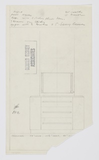 Design for a dresser with mirror. At center, front elevation shows rectilinear object in maple with recessed base and three drawers accessed by long horizontal pulls. On either side, possible vertical cabinets with interior shelves. Drawers would feature dividers and grooves for organization. Above, rectangular mirror with trim and tubular lights vertically mounted on either side. Inscribed with Deskey No. 8412.