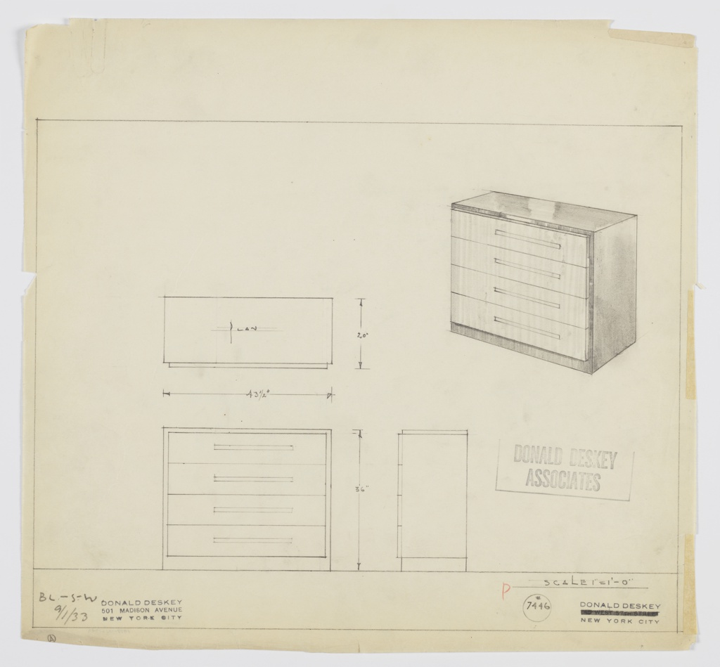Design for chest of drawers. At upper right, perspective shows rectilinear object with base, right side, and top in dark material and drawer fronts in lighter one. Drawers set slightly out from main volume and are accessed by horizontal pulls. Also shown in plan and front and side elevations. Inscribed with Deskey No. 7446 and BL-S-W.