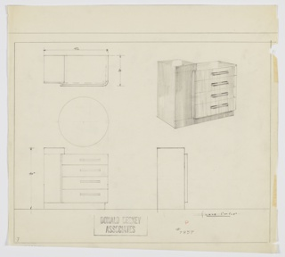Design for chest of drawers. At upper right, perspective shows bi-level rectilinear object: at left, cabinet with vertical pull creates L-shape with base in same material; set into this is four-stack of drawers with rectangular pulls and curved right corner with top surface of same plan. Also shown in plan and front and side elevations; inscribed with Deskey No. 7857.