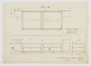 Design for paired beds with night tables shown in partial plan (above) and front elevation (below). Pair of twin beds with box springs rest on rectilinear plinths with curved front corners. On either side they are flanked by night tables with cabinet below and open shelf above. Headboard extends behind both tables and beds as one planar element. Inscribed with Deskey No. 8376 (combination headboard/night tables) and 8377 (beds).