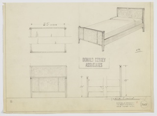 Design for bed. At upper right, bed with planar headboard in burl wood with dark trim; footboard in same burl material with trim and vertical accents in darker material. Siderails in light wood. Square-plan feet with inset contrasting trim. Also shown in partial plan, front elevation, and partial side elevation. Inscribed with Deskey No. 7643.