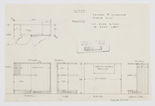Design for a radio cabinet with shelves seen in plan, front and rear elevation, and side elevations. Rectilinear object in Paldao wood with sycamore shelves features curved front left section extending from main volume with open shelving. Object's right features cabinet that opens to reveal addition storage. Radio compartment located near top.