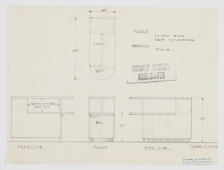 Design for radio cabinet and book shelf. At lower left, side elevation describes rectilinear object with curved shelves extended outward at right. Planar surfaces with opening for radio above. At lower right, alternate side elevation shows opposite open shelf for books. At center, front elevation shows cabinet door below, while plan above provides additional view. Object would be in sycamore with Paldao base.