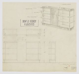 Design for open shelving with central cabinet. At upper right, object shown in perspective: central cabinet in Thuya wood with possible drawer above. On either side, flanked by open glass shelving with curved outside corners supported by polished chrome tubing and set into white lacquer units. Entire object rests on wood base. Below at left, object shown in plan and front and side elevation. Inscribed with Deskey no. 7789.