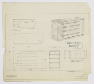 Design for chest of drawers for Emil Schwartzhaupt's apartment at the Hotel Pierre in New York, NY. At upper right, perspective shows overall rectilinear object with curved front-right corner. Stack of four drawers—shallow above and deeper below—hang over front and right sides of base, which is in Burr wood as well as the top and left sides of drawers, and are accessed by horizontal pulls with curved front-left edges and angled front-right edges. Drawer fronts in different material. Drawing details drawer divisions and functions, including: belts, scarfs [sic], handkerchiefs, collars, gloves, sliding tray for collar-buttons etc., socks, and shirts. Also shown in plan and front and side elevations, with drawer plan details. Inscribed with Deskey No. 7936.