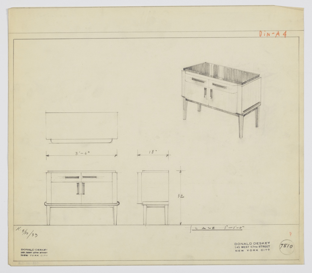 Drawing, Design for Sideboard