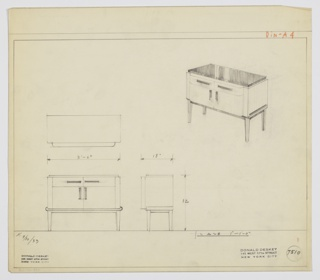"Design for sideboard. At upper right, perspective shows case piece with overall rectangular form. Top is dark material as are drawer pulls, cabinet pulls, and tray-like base which rests on four, square-plan tapered legs. At center, two drawers side-by-side with horizontal pulls above two cabinet doors with vertical ones; this entire section scallops out from main volume. Plan, front, and side views also shown. Inscribed with Deskey No. 7510 and ""K. 9/30/33""."