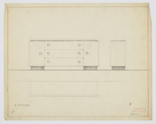 "Design for sideboard. At center left, front elevation for rectangular object resting on two almost-square rectangular feet in dark wood. On either side, cabinet doors accessed by circular pulls. At center, three horizontal drawers each with two circular pulls. Top surface slightly narrower than overall object. At right, a side elevation reveals top is shallower than overall object, as well. Below, a plan provides additional view. Inscribed with ""K. 9/30/33"" and Deskey No. 7134."