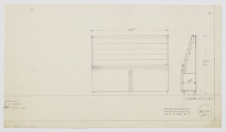 Design for stepped display rack for printed materials with cabinets below. At center-right, object shown in front elevation. Rows of shallow, open shelves for printed materials above horizontally streamlined section that rests atop low, two-door cabinet on base below. At center, object shown in side elevation. Inscribed with Deskey No. 8389 (spec).
