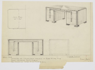 Design for desk in Oriental or Circassian walnut front, sides and top with black lacquer posts and legs and polished chromium shoes, trim, and pulls. At upper right, perspective shows substantial pedestal desk supported on either side by triple-stacked drawers. Top drawers shallow and in plane with central drawer over leg space. Pulls are vertical rectangles that appear to span height of all drawers as well as horizontal width. Piers supported by four feet in black lacquer with polished chromium feet to match the trim found elsewhere. Also shown in plan and front and side elevations. For manufacture by Stow-Davis.