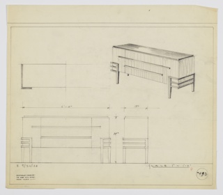 "Design for sideboard. At upper right, perspectival view of rectilinear case piece with reflective top, probably of Bakelite. At center, stack of drawers; wide horizontal pulls are present but it is unclear how top of three drawers is accessed, or whether it's a stationary panel. Its pull extends beyond its width, serving as pulls for cabinets on either side of bank of drawers. Body in vertically striated light wood. Supported by square-plan tapered legs connected to one another by three bands on either side/front corners. Plan and front and side elevations also shown. Inscribed with Deskey No. 7493 and ""K 9/30/33""."
