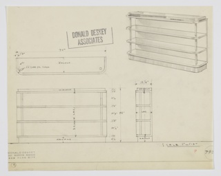 Design for open shelving. At upper right, perspective shows wide rectangular shelving unit with walnut top and base, brown lacquer interior surfaces, and polished chrome tube supports. Three open shelves. Rounded front corners. Also shown in plan, front and side elevations. Inscribed with Deskey No. 793[?] (last number cut off).