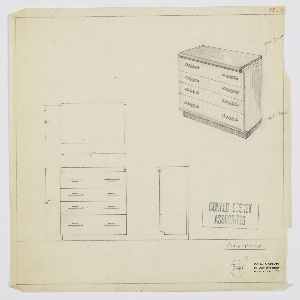 Design for chest of drawers. At upper right, object shown in perspective: rectilinear object with recessed base in mahogany veneer supports four drawers of various depths, each accessed by two horizontal cylindrical pull set into mount on either side. Top surface, also in mahogany veneer, of narrower width features curved front edge that wraps downward. Also seen in plan and front and side elevations. Inscribed with Deskey No. 7249.