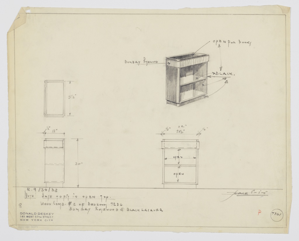 "Design for low bookcase in Bombay Rosewood and black lacquer. At upper right, perspective shows rectangular-plan case piece in black lacquer with curved outer edges, including base. Top surface consists of black lacquer inset tray, open to hold books, set into Bombay Rosewood cornice. One interior shelf. At left, plan and side elevation; at lower right, front elevation—all with dimensions. Inscribed at lower right with ""K. 9/30/33"" and Deskey No. 7361."