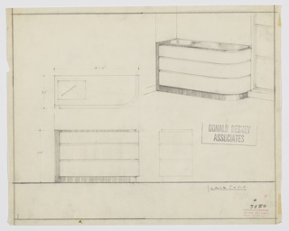 Design for chest of drawers with reflector. At upper right, chest shown in perspective in partial interior: three drawers of graduated depth rest on slightly recessed base of dark wood that wraps right side and angles over to serve as top surface, as well. Rounded front-right corner. On top surface, at right, a rectangular reflector insert would likely have been illuminated from within. Also shown in plan and front and side elevations. Inscribed with Deskey No. 7150.