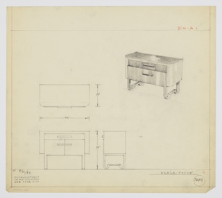 "Design for sideboard. At upper right, perspective view of oblong sideboard with curved front corners. Overall object in (probably) burled wood with drawer and cabinet at center in different, vertically striated material. Top drawer shallow with oblong pull; cabinet doors below accessed by similar pulls—cabinet stepped out from main volume. Object supported by perpendicular metal strap legs, one on either side, that scallop on ground level to create two looped feet on either side separated by parallel length. Inscribed with Deskey No. 7482 and ""K. 9/30/33""."
