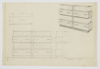 Design for pair of matching bookshelves with drawers. At upper right, perspective shows two units side-by-side: alternating drawers with two horizontal pulls and shelves open at front and outside edge. Also shown in plan and front and side elevations.