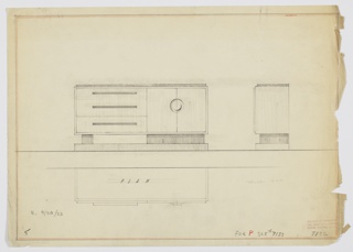 "Design for sideboard. At center left, front elevation shows rectangular cabinet with three drawers at left and two doors at right. Drawers accessed by long rectangular pulls in darker secondary material, while at right cabinets accessed by symmetrical circular pulls. Top surface slightly smaller in plan that sideboard overall. Object rests on wide block running width of cabinet doors at right and on narrower block at left, under drawers. These are positioned atop a rectangular base that runs object width. At right, side elevation; below, at left, a plan view. Inscribed with ""K. 9/30/33"" and Deskey No. 7132, with reference to Deskey No. 7133 for perspective view. Margins ruled in graphite and in orange crayon."