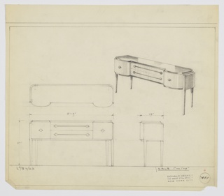 "Design for sideboard. At upper right, perspective view of oblong object with curved corners and bulges on either side. Top in reflective surface, probably Bakelite. At center, stack of horizontal drawers in light, vertically striated wood, accessed by ball knobs on either side, sent into horizontal mount that runs between them. On either side, curved-front drawers with ball knobs at center. Below, line of dark trim runs around perimeter. Supported by four square-plan tapered legs extending downward from bracket that wraps object's posterior. Plan, front and side elevations also shown. Inscribed with Deskey No. 7491 and ""K 9/30/33""."