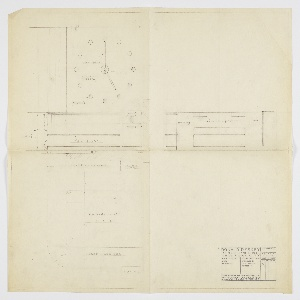 Elevations and plans for bedroom suite of George C. and Eleanor Hutton Rand apartment, Upper left corner is elevation of wall left of bed showing clear glass shelves at left, and radio and night table at right. Above shelves and night table is large clock. Arms of clock are of neon tubing, with a clear polished mirror as background. Punties are in place of numerals on clock. Elevation at right shows bed at center, flanked by night tables on each side. Drawing shows top cabinet of each night table in lowered position. Floor plan at lower left shows positioning of bed, clear glass shelves, radio and night tables. Furniture arranged over a deep piled rug.