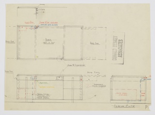 Design for desk with extendable drop ends. At lower left, front elevation shows pedestal desk with three-stack drawers on either side with shallow drawers on top. These accessed by vertical metal pulls that run object's height and extend downward to serve as feet, as well, before running up the back. At left front of desk, specs for a buzzer and cigar lighter; at left rear, a phone box, phone wire outlet, and outlet for light; at lower left front is a space for a metal-lined drawer for waste paper. At upper right of desk, compartment for cigarettes and ash. On either side, drop leaves fold up and are supported by runners that slide outward. Also shown in plan and side elevation; color pencil in orange, blue, yellow, and green indicate various components.
