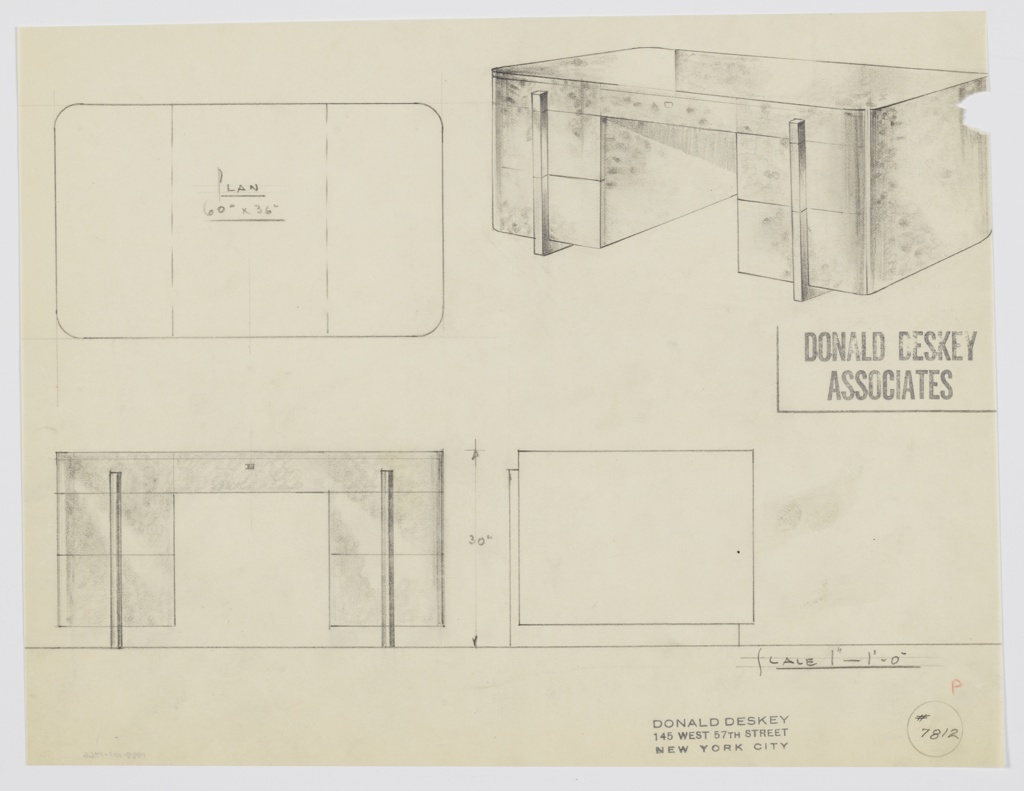 Drawing, George C. and Eleanor Hutton Rand Apartment: Desk: Seating at Center, Center Drawer, Three Stacked Drawers-Left and Right-with One Centered Vertical Pull Spanning the Stack, 1930s