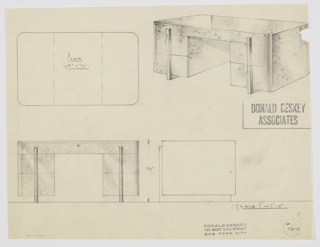 Design for desk for the George C. and Eleanor Hutton Rand Apartment. At upper right, perspective shows pedestal desk with pulls and perpendicular feet in brushed chromium. On either side is a stack of two drawers with top drawer that spans object width and is accessible by key. Also shown in plan and front and side elevations. Inscribed with Deskey No. 7812.
