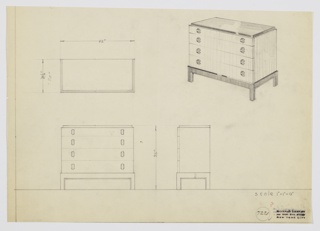 Design for chest of drawers. At upper right, object shown in perspective: rectilinear object with recessed surface—possibly in Bakelite or lacquer—rests on four square legs with base. Four drawers, the top shallower than the others, accessed by layered semi-cylindrical pulls in dark material, while drawer fronts and sides in light, striated wood. Also shown in plan and front and side elevations. Inscribed with Deskey No. 7221.
