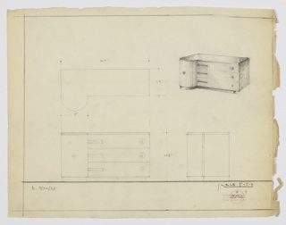 "Design for sideboard. At upper right, perspective shows rectangular cabinet with semi-cylindrical left side. Tabletop of reflective surface, possibly Bakelite, with cabinet possibly in burled wood and rounded left side in wood with vertical grain. Three drawers on right side accessed either by rectangular finger pulls at left or circular knobs at right. Cabinet slightly cantilevered over base, which otherwise mirrors tabletop plan. Left-side rounded cabinet also accessed by singular circular knob. At upper left, a plan; lower left, front elevation; lower right, side elevation. Inscribed with ""K. 9/30/33"" at lower left and with Deskey No. 7122."