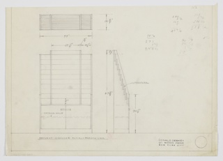 Design for literature rack for French Line. At lower left, front elevation shows tall rectangular object with stepped display space above and cabinet below with centrally located horizontal pulls; inside there is a shelf. Also shown in plan and side elevation.