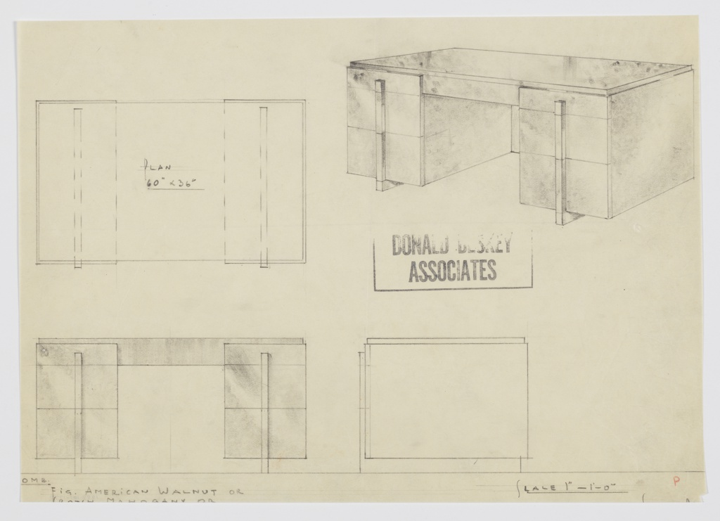Design for pedestal desk in walnut or mahogany. At upper right, perspective shows pedestal desk supported by triple-stacked drawers on either side positioned on parallel runners in metal; these angle upward against drawer fronts to serve as pulls. Also shown in plan and front and side elevations. Lower edge cut off.