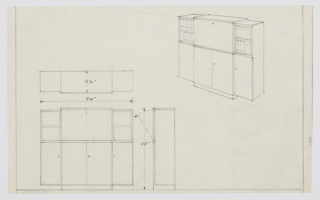 Design for bookcase with cabinets. At upper right, perspective shows stepped rectangular shelving unit: central volume features drop-down cabinet above and vertical cabinets below. On either side, this is flanked by shorter units with two shelves above and single cabinet below; these cantilever out from central volume, which rests on a rectangular base. Also shown in plan and front and side elevations.