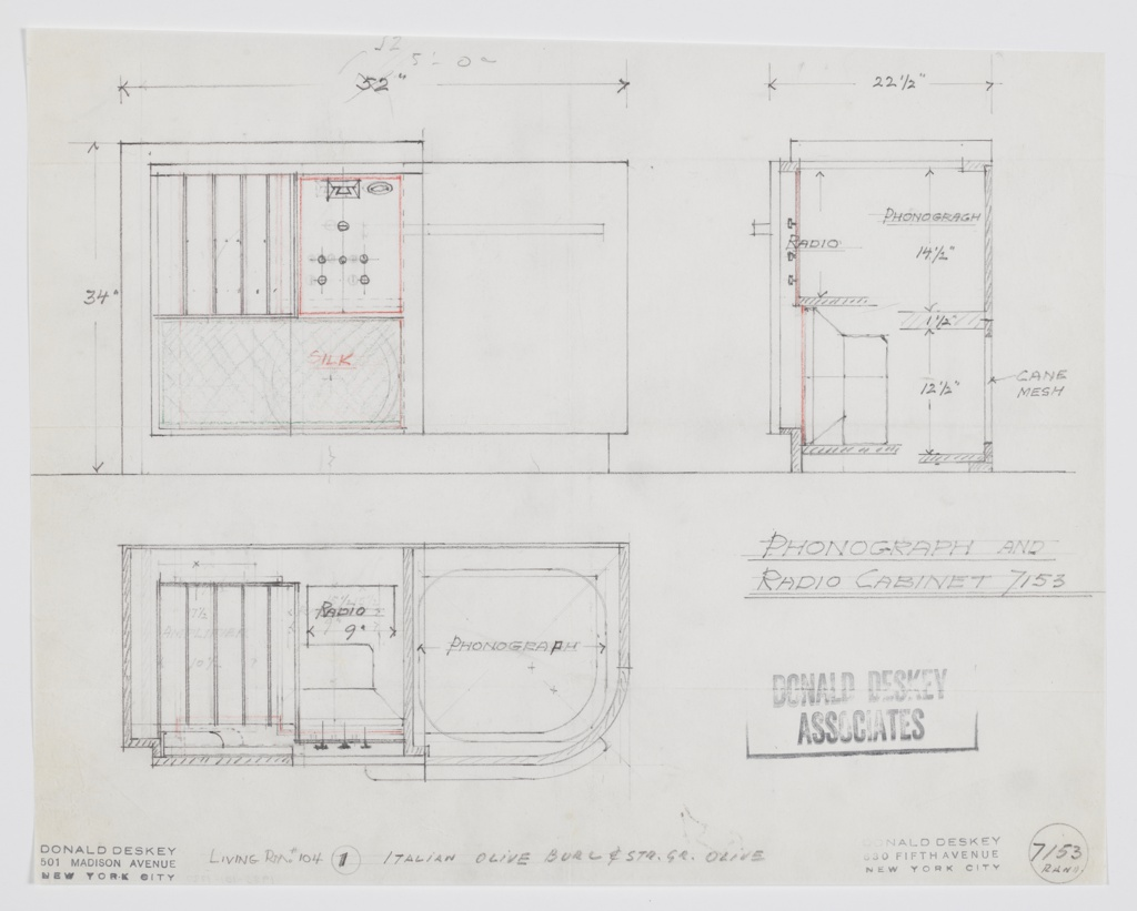 Design for phonograph and radio cabinet for the George C. and Eleanor Hutton Rand apartment living room. At upper right, front elevation shows object with intersection rectilinear volumes: at right, space for radio above with silk-covered speaker front below. At right, phonograph cabinet. Below, plan view shows that right-side phonograph cabinet features curved front-right corner. Object also shown in side section at upper right. Inscribed with Deskey No. 7153.