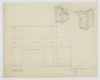 Design for pedestal desk. Top surface is rectangular volume in light material with two drawers set into tops of rectangular pedestals in darker material standing on recessed bases. Supports feature cabinets; all storage areas accessed by circular pulls set off from surface. Below, object seen in plan and front and side elevations. Inscribed with Deskey No. 7703.