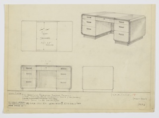Design for pedestal desk for Stow-Davis in figured Brazilian rosewood, close-grained Brazilian rosewood, and chromium pulls or close-straight-grained walnut and Circassian. At upper right, perspective shows substantial desk with dark top surface that curves downward at sides to wrap bottom of drawer pedestals. These are triple stacks of drawers with horizontal pulls; top drawer is shallow and in plane with center drawer with key access. Object features back panel and stands on recessed base. Materials and notations inscribed in graphite as well as manufacturer Stow-Davis and Deskey No. 7796.