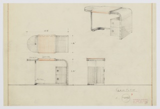 Design for desk with metal and leather accents. At upper right, perspective shows wooden writing surface with rounded left edge; surface curves downward at right to provide support, while at left a rectangular metal tube extends downward and curves at rear creating both leg and stretcher. At right, double-stack of drawers with round pulls. Writing surface wrapped in leather with metal trim. Also shown in plan and front and side elevation. Inscribed with Deskey No. 7095.