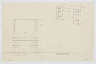 Design for stepped pedestal desk. At upper right, perspective shows rectilinear object with triple-stacked drawers on either side. Drawer fronts broken by stepped plan wherein far sides angle rearward and are cantilevered from primary volume. Also shown in plan and front elevation.